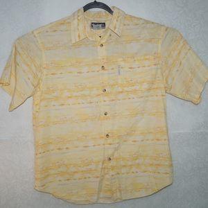 Columbia XCO Mens Yellow Fish Print Shirt Size L